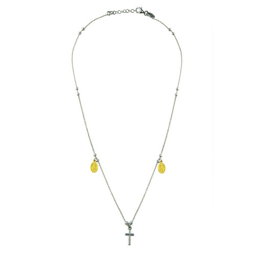 Wholesale Sterling Silver 925 2 Toned Cross and Charms Necklace - ARN00014GP
