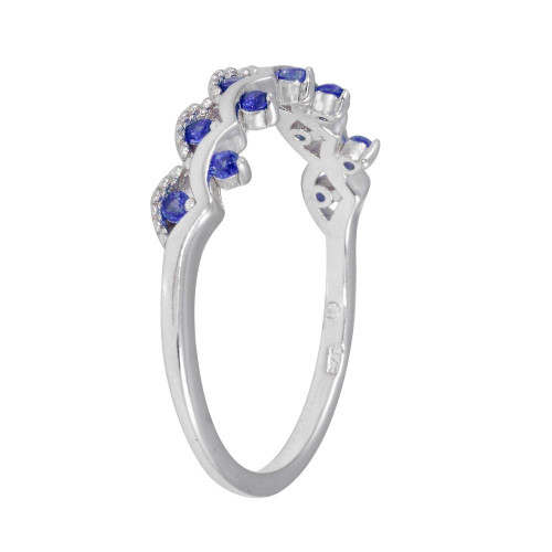 Wholesale Sterling Silver 925 Rhodium Plated Wavy Ring with Blue CZ - BGR01239BLU