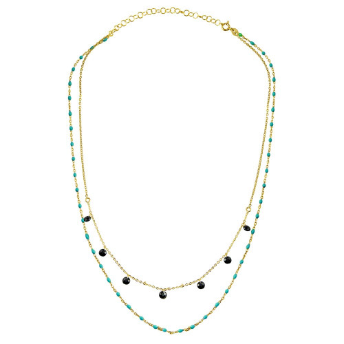 Wholesale Sterling Silver 925 Gold Plated Double Chain Dangling Black CZ with Turquoise Beads - ECN00055GP