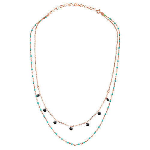 Wholesale Sterling Silver 925 Rose Gold Plated Double Chain Dangling Black CZ with Turquoise Beads - ECN00055RGP