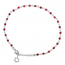 Wholesale Sterling Silver 925 Red Beads Anklet with Dangling Open Star of David - ANK00009