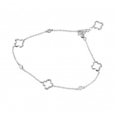 Sterling Silver Rhodium Plated Open Flower Anklet - BGF00008