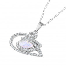 Sterling Silver Rhodium Plated Swan with CZ and Synthetic Opal Stone Necklace - BGP01040