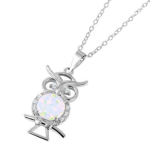 Wholesale Sterling Silver 925 Nickel Free Rhodium Plated Owl with Opal Center Stone Necklace - BGP01049