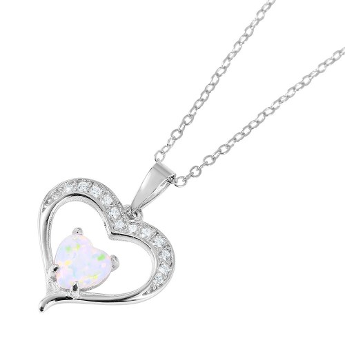 Wholesale Sterling Silver 925 Nickel Free Rhodium Plated Open Heart with CZ and Synthetic Opal Necklace - BGP01053