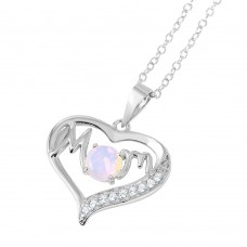 Wholesale Sterling Silver 925 Rhodium Plated Open Heart Mom Opal and CZ Necklace - BGP01054
