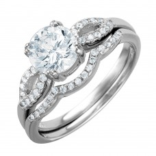 Wholesale Sterling Silver 925 Rhodium Plated Open Wave Design Band Round CZ Center Bridal Ring - BGR01001
