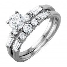 Wholesale Sterling Silver 925 Rhodium Plated Bridal Ring with Baguette CZ Stones - BGR01002