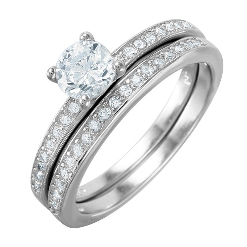 Wholesale Sterling Silver 925 Nickel Free Rhodium Plated Round Center CZ Bridal Ring - BGR01003