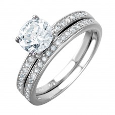 Wholesale Sterling Silver 925 Rhodium Plated Bridal Ring with Round CZ Center Stone - BGR01004