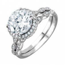 Wholesale Sterling Silver 925 Nickel Free Rhodium Plated Round Halo CZ Bridal Ring - BGR01006