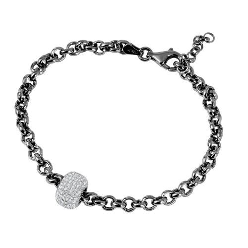 Wholesale Sterling Silver 925 Black Rhodium Plated Rolo Bracelet with Micro Pave Center Bead - ECB00047BW