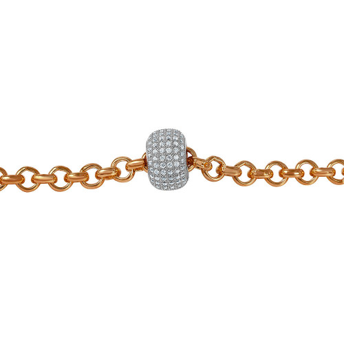 Wholesale Sterling Silver 925 Rose Gold Plated Rolo Bracelet with Micro Pave Center Bead - ECB00047RW