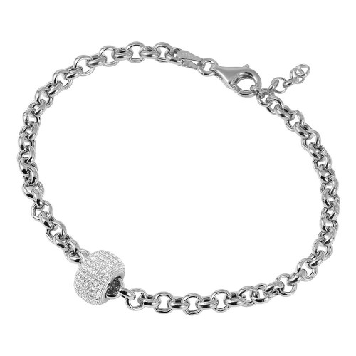 Wholesale Sterling Silver 925 Rhodium Plated Rolo Bracelet with Micro Pave Center Bead - ECB00047RH