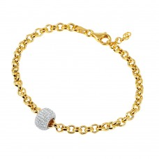 Wholesale Sterling Silver 925 Gold Plated Rolo Bracelet with Micro Pave Center Bead - ECB00047YW