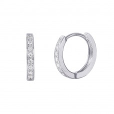 Wholesale Sterling Silver 925 Rhodium Plated CZ Huggie Earrings with CZ - GME00021RH