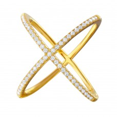 Sterling Silver Nickel Free Gold Plated 4 Way CZ Ring - GMR00039GP