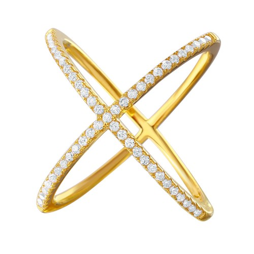 Wholesale Sterling Silver 925 Nickel Free Gold Plated 4 Way CZ Cross Ring - GMR00039GP