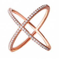 Sterling Silver Nickel Free Rose Gold Plated 4 Way CZ Ring - GMR00039RGP