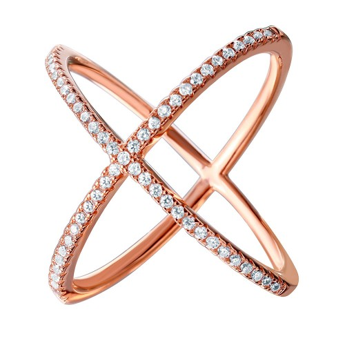 Wholesale Sterling Silver 925 Nickel Free Rose Gold Plated 4 Way CZ Cross Ring - GMR00039RGP
