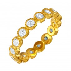 Wholesale Sterling Silver 925 Gold Plated Stackable CZ Ring - GMR00064GP