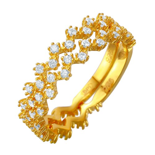 Wholesale Sterling Silver 925 Double Stackable Gold Plated CZ Ring - GMR00070GP