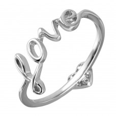 Wholesale Sterling Silver 925 Rhodium Plated LOVE With Heart CZ Ring - GMR00071
