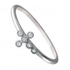 Wholesale Sterling Silver 925 Rhodium Plated Round Band with CZ Cross Ring - GMR00072
