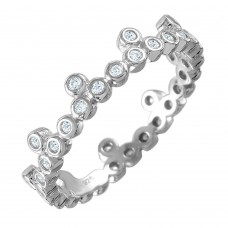 Wholesale Sterling Silver 925 Rhodium Plated CZ Stackable Eternity Ring - GMR00075