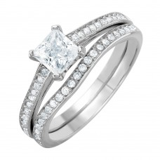 Wholesale Sterling Silver 925 Rhodium Plated Thin CZ Bridal Ring - GMR00078