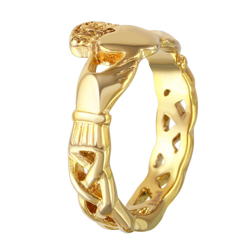 Wholesale Gold Color Stainless Steel Claddagh Ring - SRN020SG