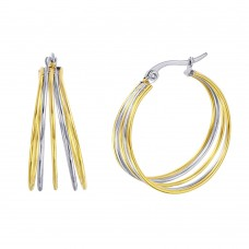 Wholesale Stainless Steel Two Tone Multi Hoop Earring - SSE00105