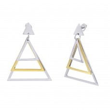 Stainless Steel Two Tone Pyramid Hanging Stud Earring - SSE00108