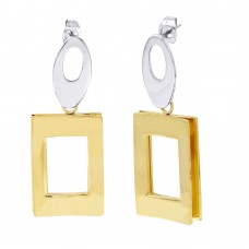 Stainless Steel Two Toned Gold Plated Chandelier Stud Earrings - SSE00110