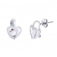Stainless Steel Open Heart Stud Earrings With CZ - SSE00112