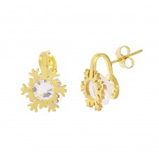 Stainless Steel Gold Plated Snow Flake CZ Stud Earrings - SSE00113