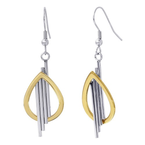 Wholesale Stainless Steel Two Toned Open Teardrop with Four Bar Hanging Earrings - SSE00114