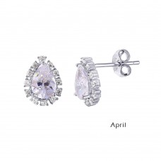 Wholesale Sterling Silver 925 Rhodium Plated Teardrop Halo CZ Birthstone Earrings April - STE01027-APR