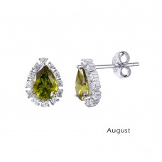 Wholesale Sterling Silver 925 Rhodium Plated Teardrop Halo CZ Birthstone Earrings August - STE01027-AUG