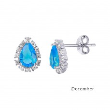 Wholesale Sterling Silver 925 Rhodium Plated Teardrop Halo CZ Birthstone Earrings December - STE01027-DEC