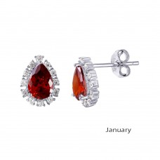 Wholesale Sterling Silver 925 Rhodium Plated Teardrop Halo CZ Birthstone Earrings January - STE01027-JAN