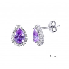 Wholesale Sterling Silver 925 Rhodium Plated Teardrop Halo CZ Birthstone Earrings June - STE01027-JUN