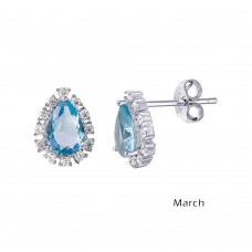 Wholesale Sterling Silver 925 Rhodium Plated Teardrop Halo CZ Birthstone Earrings March - STE01027-MAR
