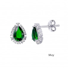 Wholesale Sterling Silver 925 Rhodium Plated Teardrop Halo CZ Birthstone Earrings May - STE01027-MAY