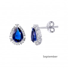 Wholesale Sterling Silver 925 Rhodium Plated Teardrop Halo CZ Birthstone Earrings September - STE01027-SEP