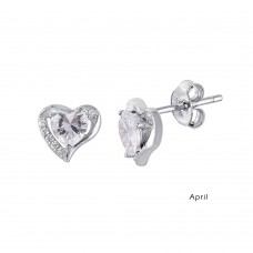 Wholesale Sterling Silver 925 Rhodium Plated Heart with Birthstone Center Stud Earrings April - STE01028-APR