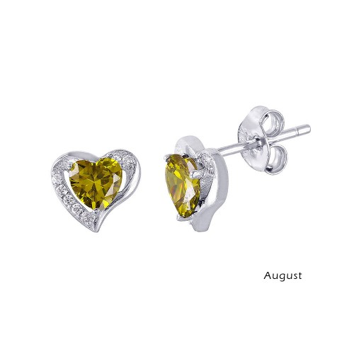 Wholesale Sterling Silver 925 Rhodium Plated Heart with Birthstone Center Stud Earrings August - STE01028-AUG