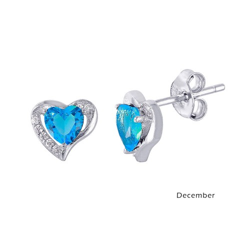 Wholesale Sterling Silver 925 Rhodium Plated Heart with Birthstone Center Stud Earrings December - STE01028-DEC