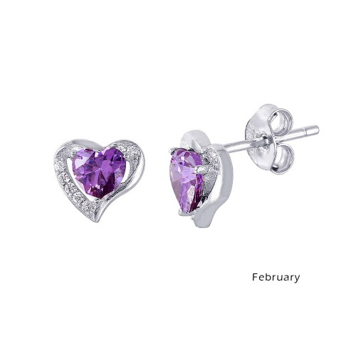 Wholesale Sterling Silver 925 Rhodium Plated Heart with Birthstone Center Stud Earrings February - STE01028-FEB