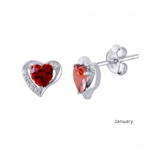 Wholesale Sterling Silver 925 Rhodium Plated Heart with Birthstone Center Stud Earrings January - STE01028-JAN